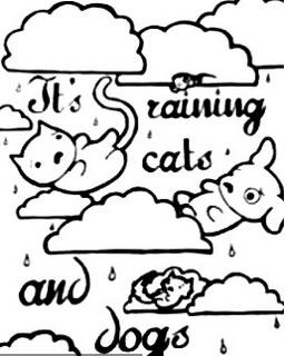 It is raining cats and dogs